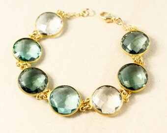 Aqua and Crystal Quartz Bracelet – Choose Your Favorite Design