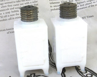 vintage ice box salt and pepper shakers   ...  white milk glass  ...   pressed glass   ...   GE general electirc