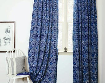 Indigo Curtains Blue Curtains Window Boho Bedroom Home Decor Housewares  Block Print Home Living Ichcha ONE
