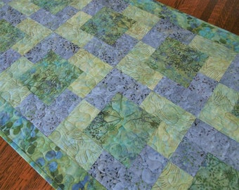Quilted Batik Table Runner in Botanical Prints of Lilac Lavender Aqua and Green, Quilted Batik Table Topper, Quilted Tablecloth, Table Decor
