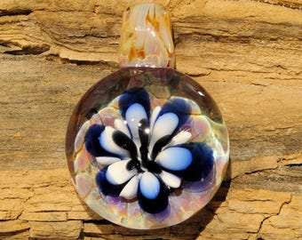 Blown Glass Pendant ~ Flower ~ Blue and White ~ Boro ~ Lampwork Focal Bead ~ Art Glass Necklace ~ by J Hills Glass Art