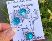 Mermaid Earring Ring Set, Stud Earrings, Scale Earrings, Dragon Scales, Flatback, Ocean, Beach, Rainbow, Costume, Post Earrings, Rainbow