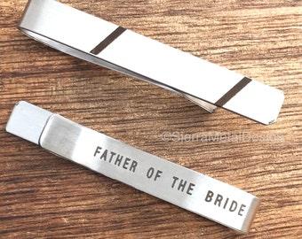 Father of the Bride Tie Clip Tie Bar Father of the Bride Engraved Tie Clip Father Gift Father of Bride Gift Brides Dad Parent Wedding