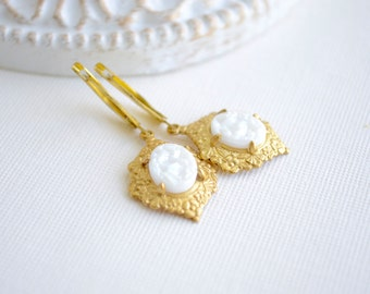 White and Gold Earrings with Locking Lever Backs, Winter Jewelry, Christmas Gift For Her, Costume Jewelry, Victorian Earrings, Vintage Style