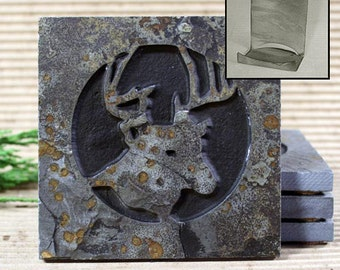 Etched Natural Stone Coaster Set with Holder - Deer Head on Copper Slate