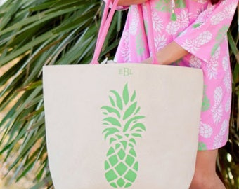 Pineapple Canvas Tote Bag- Summer's Essential Bag