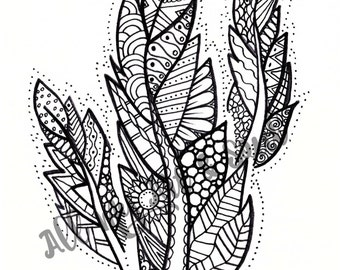 Adult Coloring Page - Feathers - Instant Download - Zentangle - Doodle Illustration - DailyDoodler - Unique Feathers / Leaf Illustration