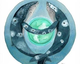 Whales and Worlds III, Humpbacks, original watercolor