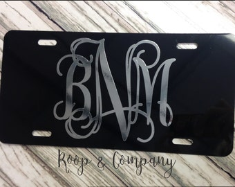 Black License Plate with Mirror Chrome Monogram or Name