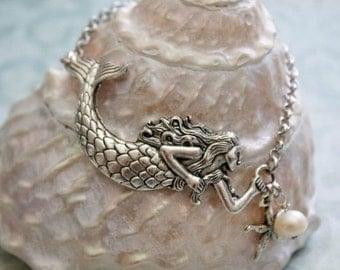 Mermaid Bracelet, Silver Mermaid Bracelet, Cuff Mermaid Bracelet, Mermaid jewelry