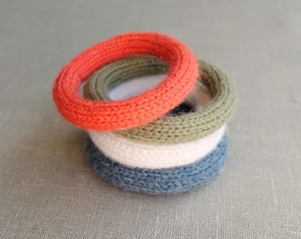 Knitted Yarn Bracelets, set of three