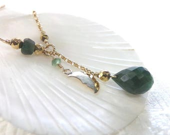 Emerald Necklace, Gold Necklace, Green Necklace, Natural Emerald Necklace, Emerald Gemstone Necklace, Birthstone Necklace, - Egyptian Spring
