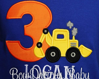 Digger Birthday Shirt, Backhoe Birthday Shirt or Bodysuit, Front Loader Birthday Shirt, Construction Birthday Shirt, Monogrammed, Custom