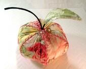 Pincushion- Yellow Delicious Apple- Soft Yellow Rose Print, Apple Pincushion- Made to Order