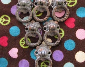 Set of 6 Antiqued Metal Drawer Ring Pulls