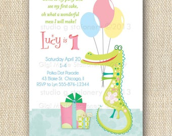 Crocodile Birthday - Alligator Birthday -Toddler Boy Birthday/Toddler Girl Birthday -Lizard Birthday -Hippo birthday -Baby Hippo Invitations
