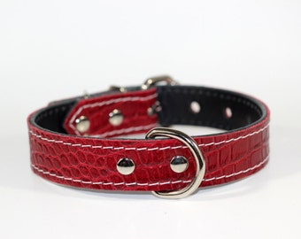 """Red Leather Dog Collar - Vintage Red Collar - 1""""  Red Leather Collar - Red Dog Collar - Ready To Ship - Fits 12"""" to 16"""" Necks"""