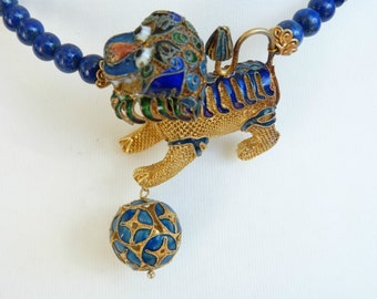 Antique Chinese Silver Foo Dog Lapis Necklace, Exclusive, OOAK, Chinese Antiques