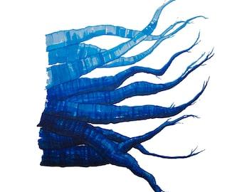 minimalist watercolor print: Blue Carrots