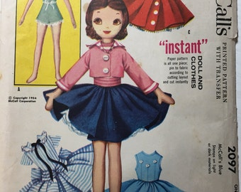 NOT A PDF Betsy McCall Rag Doll and Clothes    McCall's 2097  Sewing Pattern uncut Factory Folded as shown in Mccall magazine