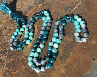Amazonite mala, Kyanite mala, Apatite mala, Amazonite prayer beads, Kyanite prayer beads, Apatite prayer beads