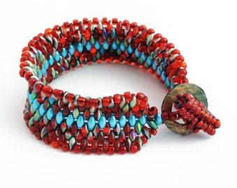 Orange and Blue Woven Snake Skin Bracelet