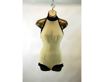 1950s bathing suit swimsuit Jantzen International Set A French Design halter beige black boy cut Size S