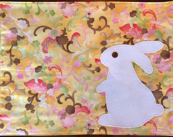 Yellow Bunny Placemats, White Rabbit Applique, Quilted, Spring Springtime Colors, Blue Yellow, Green Polkadot Backs.