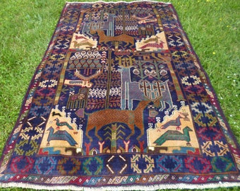 "Hunting Carpet Rug  Deer 6 ft 1"" x 3 ft 9"" . Woven Kilim/Tapis. 185 x 114 cm. Traditional."