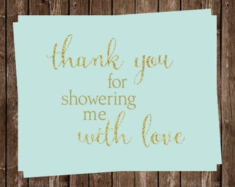 Glitter, Gold Thank You Cards, Bridal, Wedding Shower,Mint, Green, Gold, Set of 24 Folding Notes, FREE Shipping, HCBMT, Here Comes The Bride