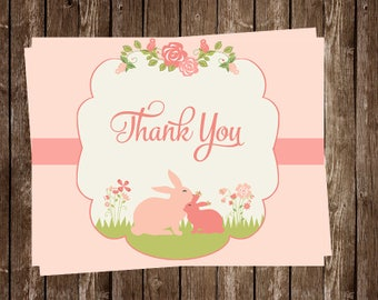 Baby Shower Thank You Cards, Baby Girl, Floral, Pink, Green, Rabbits, Flowers, Set of 24 Folding Cards, FREE Shipping, SMBUN, Some Bunny