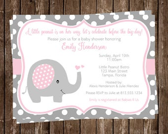 Elephant, Baby Shower Invitations, Sprinkle, Girls, Pink, Gray, Polka Dots, 10 Printed Invites, FREE Shipping, Little Peanut, Customizable