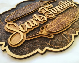 Laser cut and Engraved Wood Feather Family Name Sign