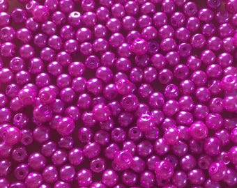 100 x 4mm bright pink glass pearl beads