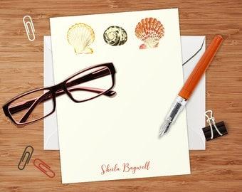 Nautical Seashell Trio - Set of 8 CUSTOM Personalized Flat Note Cards/ Stationery