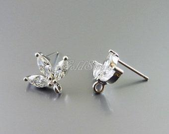 1 pair / 2 pcs rhodium silver CZ sprout earrings, cubic zirconia leaf earrings, cz jewelry earrings E1760-BR earrings