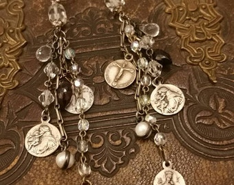 Upcycled Vintage Multi Religious medals Assemblage Earrings, multi chains, Dangly,Long, ooak, Repurposed