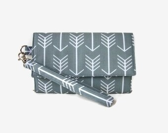 Gray Smartphone Trifold Wristlet Wallet - Cushioned Cell Phone Wristlet - Womens' Phone Clutch - Padded Phone Wallet Pouch - Removable Strap
