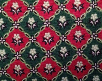 """Vintage Fabric - Waverly Bonded Fabric - """"Daisy Mae"""" - Red and Green Old Fashioned Print - Medium Weight Fabric"""