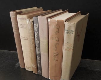 Chestnut Brown Books for Decor - Decorative Old Books - Vintage Books by Color