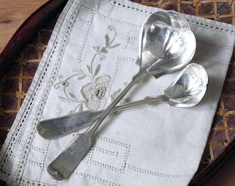 Pair of 1847 Tipped Matching Ladles - Antique Soup Cream Silverplate - Victorian Silverplate Flatware Ladles