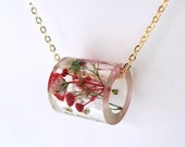 Resin Tube Necklace with Red and White Baby's Breath.  Resin Jewelry with Real Pressed Flowers.