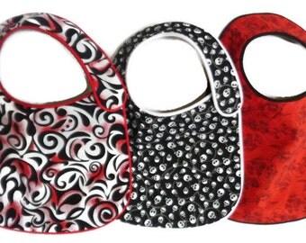 Baby Bibs Skulls Black, Red and White - set of 3 bibs