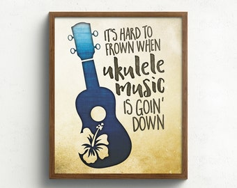 Ukulele, Music, Art, Print, Tropical Hibiscus, Hawaii, wall art, drawing, illustration