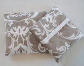 Hand Warmer Rice Bag - Tan and White Flur de Lei  - Lavender Scented