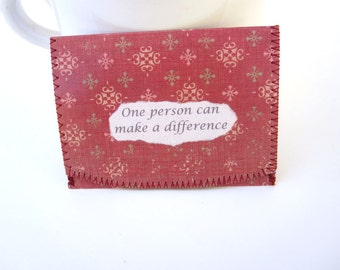 One Person Can Make A Difference ID,Bus or Metro Pass,Library Card  Holder / Wallet