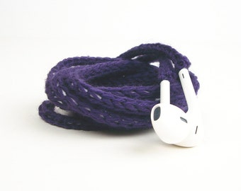 Tangle Free Knit Apple Earpods in Grape Purple