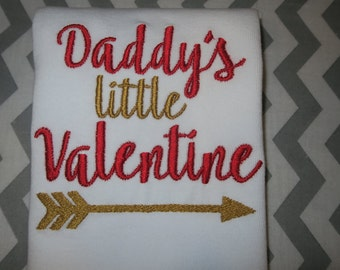 Daddy's Little Valentine  Valentines Day shirt or onesie