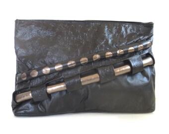 Vintage Black and Silver Leather Geometric Cutout Clutch/Purse
