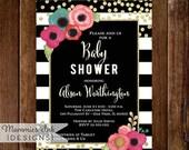 10% OFF SALE Baby Shower Invitation, Watercolor Floral Black & White Stripe Shower Invite, Gold Glitter Confetti Baby Shower, Glitter Invita